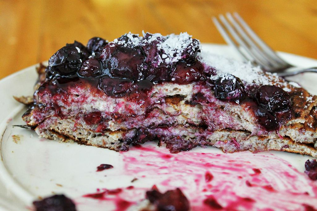 Protein Pancakes with Maple Blueberry Syrup