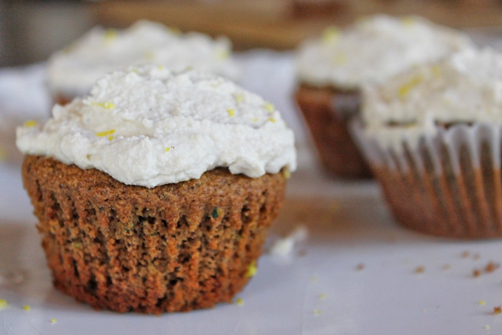 Zucchini and Date Muffins with Cashew Ginger Frosting