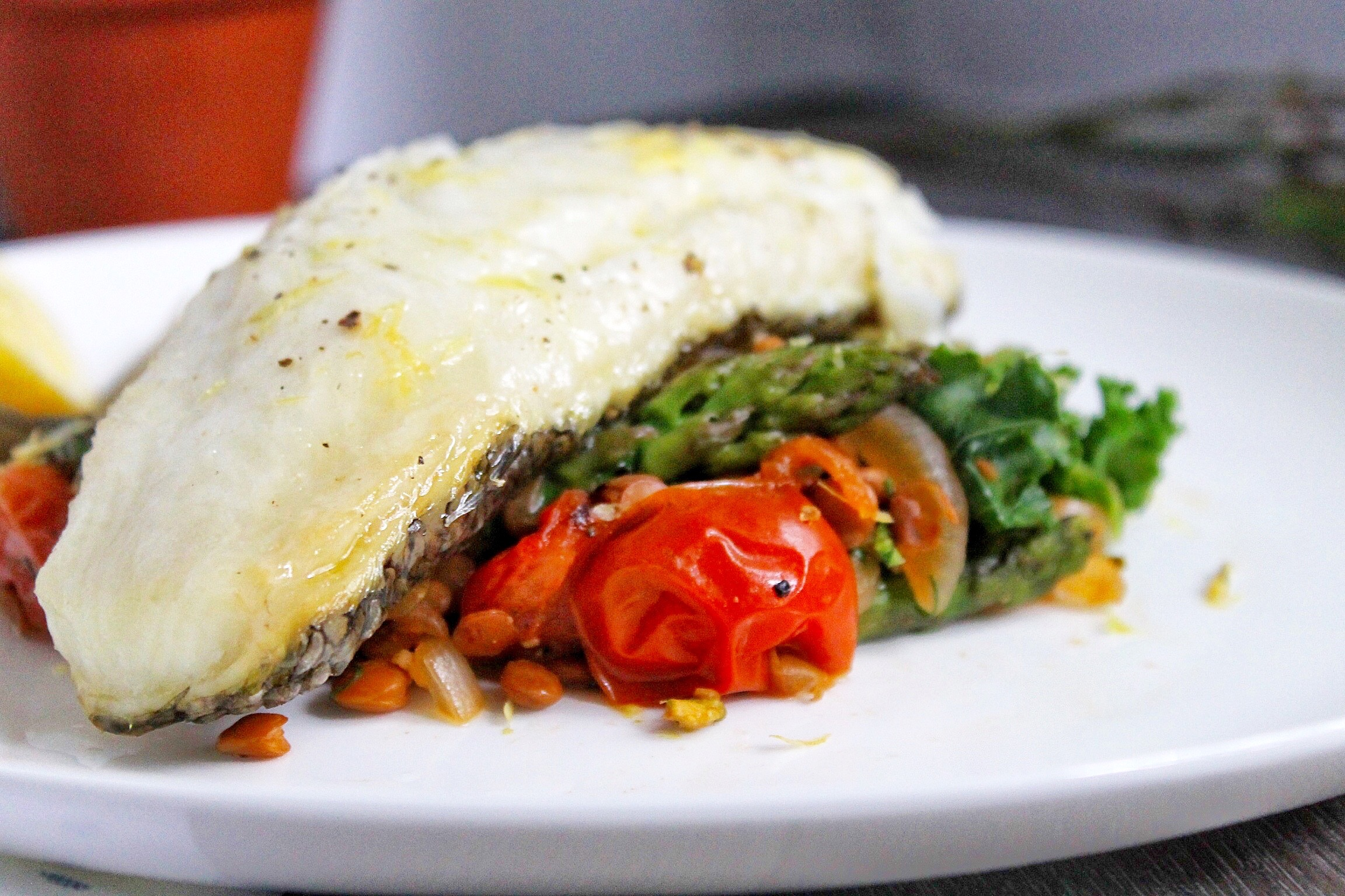 Sea Bass with Lentils, Tomatoes and Asparagus