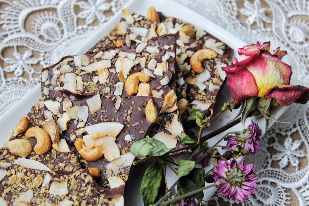 Lavender, Maple, and Coconut Salted Chocolate Bark