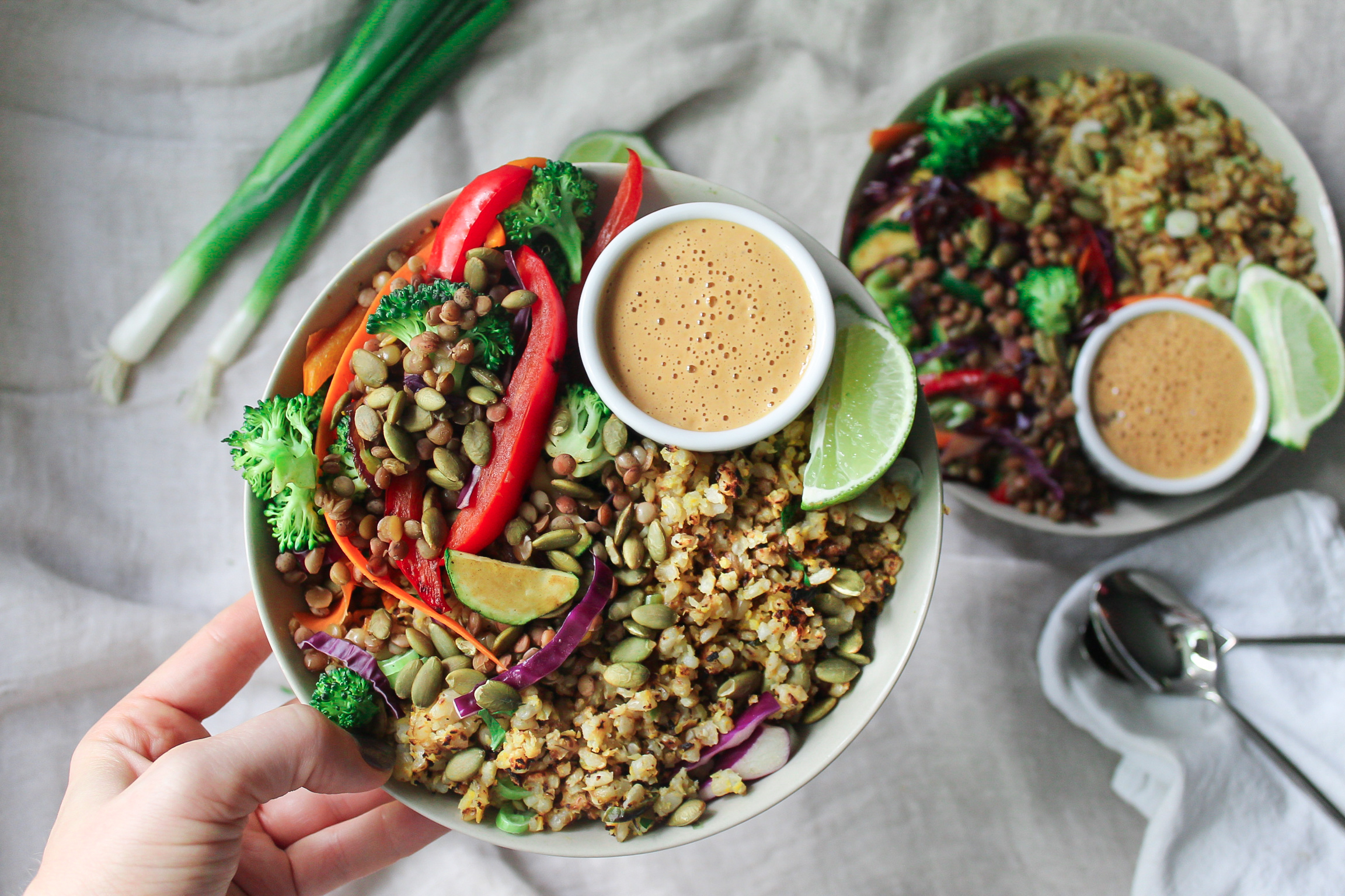 Lentil Bowl with Spicy Cashew Sauce